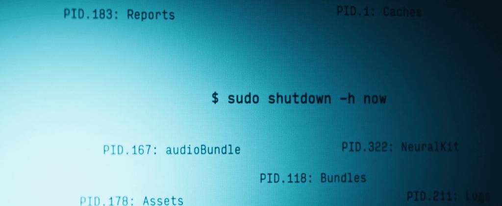 sudo shutdown -h now i filmen Upgrade