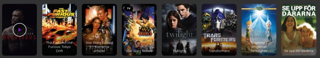 filmutbud på streamingsida sweflix