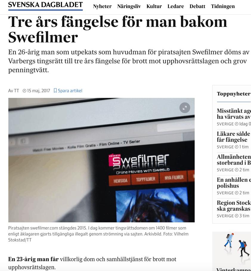 Svenska Dagbladet om swefilmer